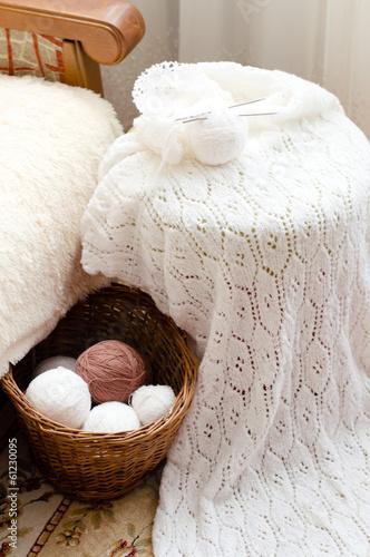 Leinwanddruck Bild Detail of woven handicraft knit sweater