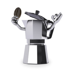 coffee pot with coffee bean on white background