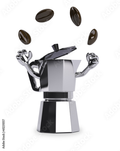 coffee pot juggles with coffee beans on white background