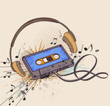 Audiocassette and headphones