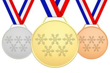 Médailles Françaises avec 5 flocons de neige