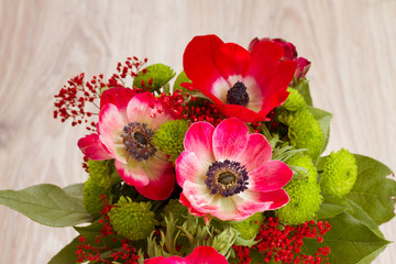bouquet of  red anemone flowers close up