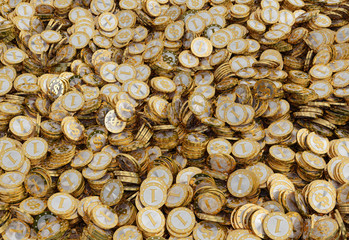 Golden coins with Dollar symbol