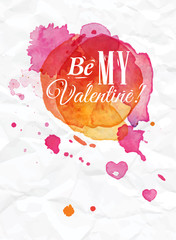 Watercolor Valentines Day Card lettering Be my Valentine in pink