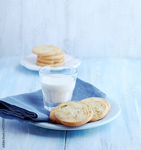 Pistachio Cookies and a Glass of Milk