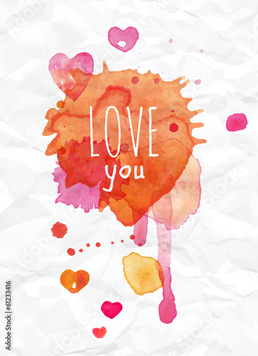 Watercolor Valentines Day Heart lettering Love you in pink, red