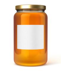 Pot de miel sur fond blanc 2