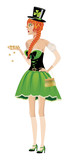 Leprechaun girl with gold coins