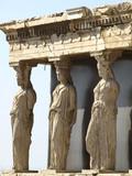 Caryatids, erechtheion temple Acropolis, Athens Greece poster