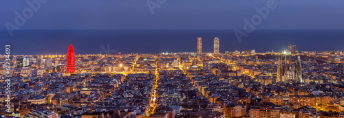 In de dag Barcelona Barcelona skyline panorama at night