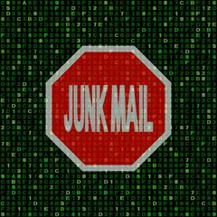 Stop Junk Mail sign on hex code illustration