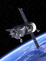 "Spacecraft ""Progress"" Orbiting Earth"
