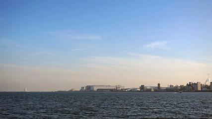 羽田沖の京浜工業地帯イメージ インターバル撮影