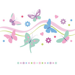 lovely colorful butterflies flowers and hearts greeting card