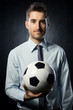 Businessman with soccer ball