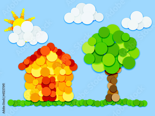 House and tree in color circles