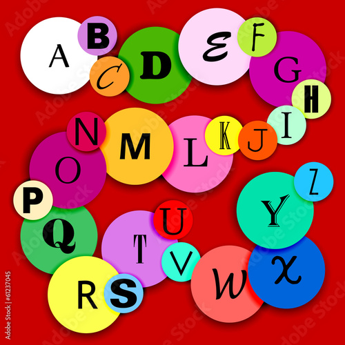 Fun alphabat on multicolor circles-2