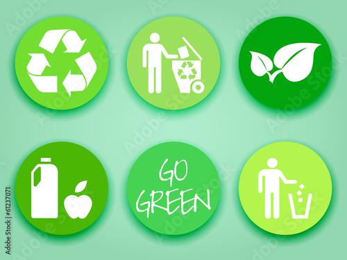Flat green stickers set