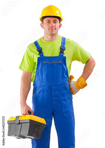 a worker holding box of tools isolated