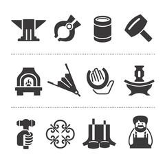 Set of blacksmithing icons