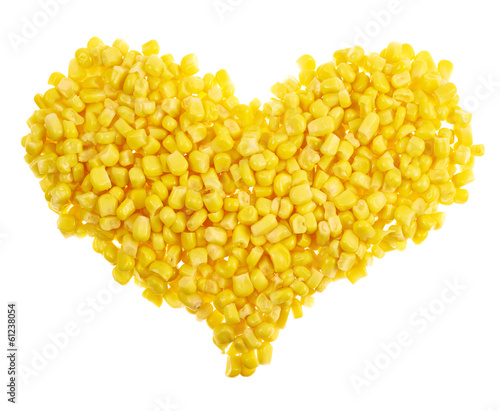 Heart shape made of corn kernels isolated