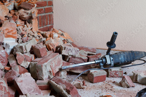 canvas print picture hammer drill and rubble