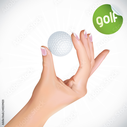 Vector Hand Holding Golf Ball Illustration