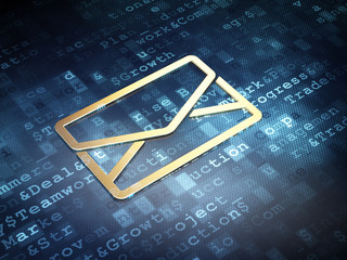 Business concept: Golden Email on digital background