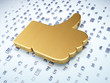 Social media concept: Golden Thumb Up on digital background