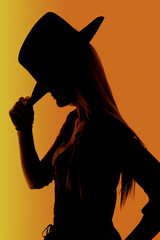 Cowgirl with orange background silhouette with highlights