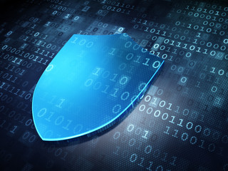 Privacy concept: Blue Shield on digital background