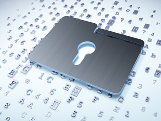 Finance concept: Silver Folder With Keyhole on digital