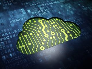 Cloud computing concept: Cloud on digital screen background