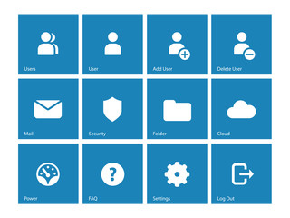 User Account icons on blue background.