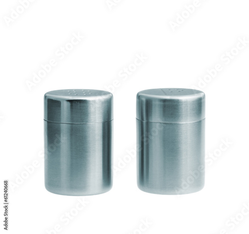 Metal salt and pepper shakers isolated on white background