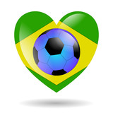 brazil soccer heart isolated
