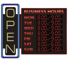 Digital time display of business