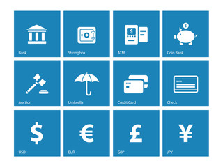 Banking icons on blue background.