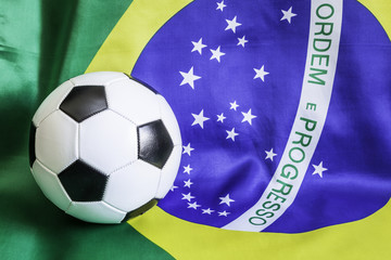 Brazilian flag with soccer ball