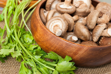 Fresh mushrooms in bowl on wooden background