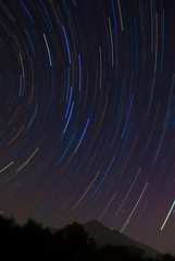The Big Dipper startrail and silhouette of Mt. Tsukuba