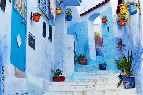 Beautiful blue medina of Chefchaouen city in Morocco