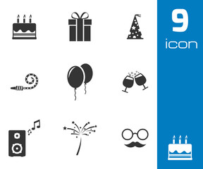 Vector black birthday icons set
