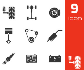 Vector black car parts icons set