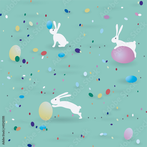 Materiał do szycia Easter pattern / Seamless print with bunnies end eggs
