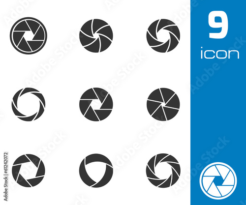 Vector black camera shutter icons set - 61242072