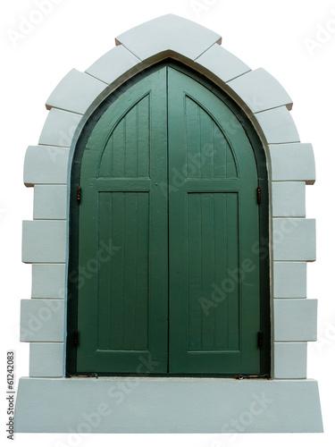 Gothic vintage window isolated on white background