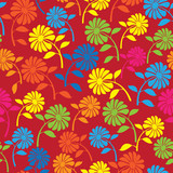 colorful wild flowers seamless pattern