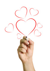 Hand drawing red hearts isolated on white background