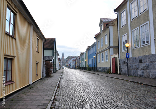 off street in Västervik, Sweden, Scandinavia, Europe